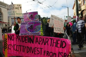 Queers Undermining Israeli Apartheid anti-pinkwashing action, June 2013